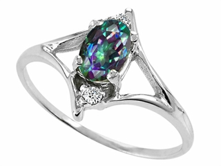 Tommaso Design(tm) Oval 6x4mm Mystic Rainbow Topaz and Diamond Ring