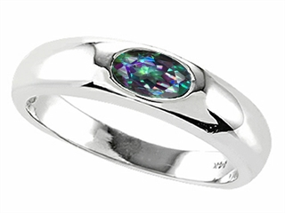 Tommaso Design(tm) Oval 6x4mm Mystic Rainbow Topaz Ring