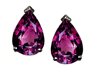 Genuine Pear Shape Rhodolite Earrings