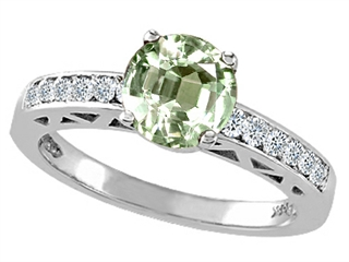Tommaso Design(tm) Round 7mm Genuine Green Amethyst and Diamond Solitaire Engagement Ring