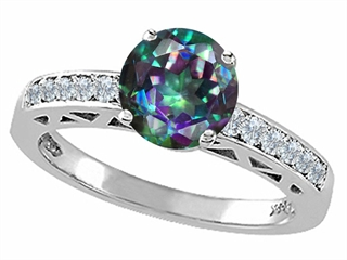 Tommaso Design(tm) Round 7mm Mystic Rainbow Topaz and Diamond Solitaire Engagement Ring