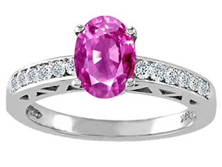 Tommaso Design(tm) Oval 8x6mm Genuine Pink Tourmaline and Diamond Solitaire Engagement Ring