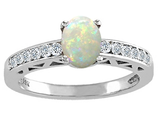Tommaso Design(tm) Genuine Opal and Diamond Solitaire Engagement Ring