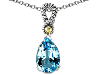 Genuine 11x8mm Blue Topaz Pendant