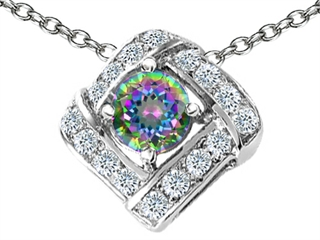 Original Star K(tm) Genuine Mystic Rainbow Topaz Pendant