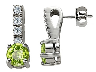 14K White Gold Plated 925 Sterling Silver Genuine Peridot Earrings peridot earrings