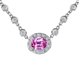 Original Star K(tm) Oval 10x8mm Created Pink Sapphire Necklace