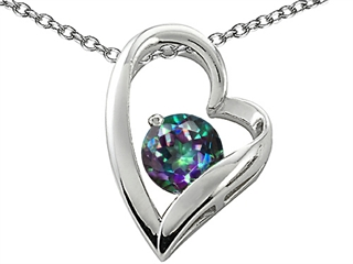 Original Star K(tm) 7mm Round Mystic Rainbow Topaz Heart Pendant