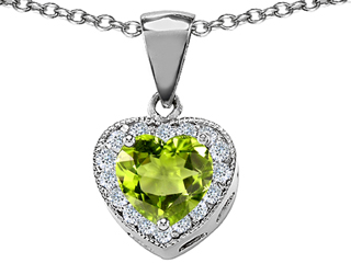 925 Sterling Silver Genuine Heart Shaped Peridot Pendant peridot pendant