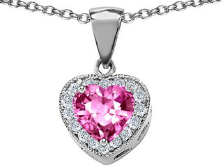 Original Star K(tm) Simulated Heart Shaped Pink Tourmaline Pendant