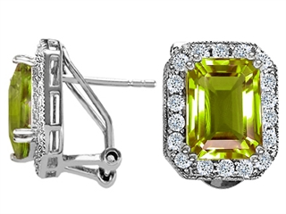 14K White Gold Plated 925 Sterling Silver and Genuine Emerald Cut Peridot Earrings peridot earrings
