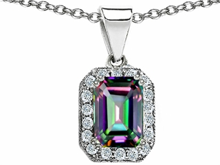 Original Star K(tm) Genuine Emerald Cut Mystic Rainbow Topaz Pendant