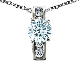 Original Star K(tm) 925 Genuine Round Aquamarine Pendant