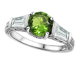 925 Sterling Silver 14K White Gold Plated Genuine Peridot Engagement Ring Peridot Engagement Rings