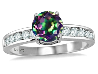 Original Star K(tm) Round 7mm Rainbow Mystic Topaz Engagement Ring