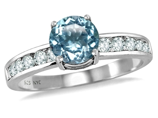 925 Sterling Silver 14K White Gold Plated Simulated Round Aquamarine Engagement Ring