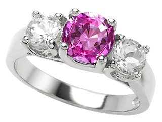Original Star K(tm) 925 Simulated Round Pink Tourmaline Engagement Ring