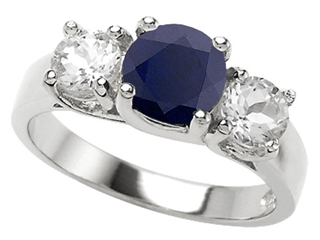 925 Sterling Silver 14K White Gold Plated Genuine Round Black Sapphire Engagement Ring
