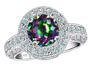 Original Star K(tm) 7mm Round Rainbow Mystic Topaz Engagement Ring