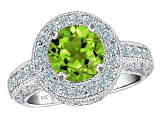 925 Sterling Silver 14K White Gold Plated Genuine Round Peridot Engagement Ring Peridot Engagement Rings