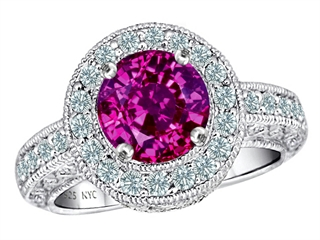 Original Star K(tm) 7mm Round Simulated Pink Tourmaline Engagement Ring