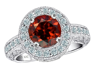 Original Star K(tm) Genuine 7mm Round Garnet Engagement Ring