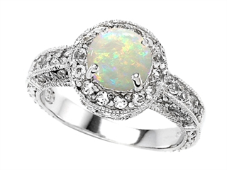 Original Star K(tm) Genuine 7mm Round Opal Engagement Ring