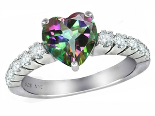 Original Star K(tm) 8mm Heart Shape Rainbow Mystic Topaz Engagement Ring