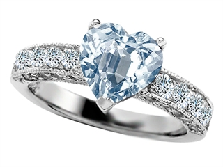 925 Sterling Silver 14K White Gold Plated Genuine Heart Shape Aquamarine Engagement Ring
