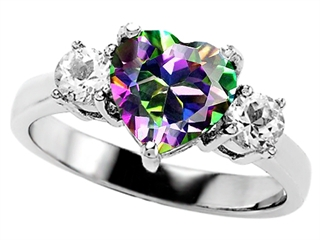 Original Star K(tm) Heart Shape 8mm Rainbow Mystic Topaz Engagement Ring