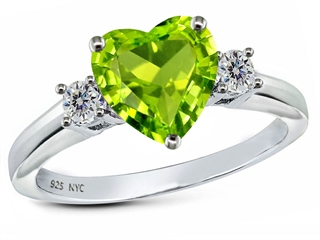 925 Sterling Silver 14K White Gold Plated Genuine Heart Shape Peridot Engagement Ring Peridot Engagement Rings