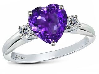 Original Star K(tm) 8mm Heart Shape Genuine Amethyst Engagement Ring