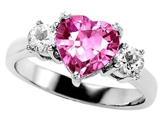 Original Star K(tm) 8mm Heart Shape Simulated Pink Tourmaline Engagement Ring