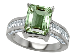 Original Star K(tm) 925 Genuine Emerald Cut Green Amethyst Engagement Ring