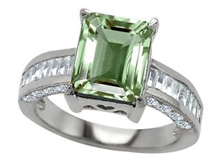 Original Star K(tm) 925 Genuine Emerald Cut Green Amethyst Engagement Ring