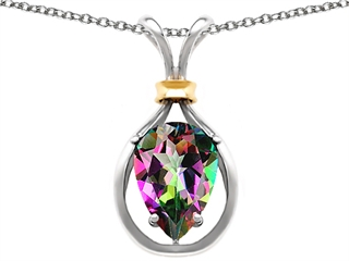 Original Star K(tm) Pear Shape 11x8mm Mystic Rainbow Topaz Pendant
