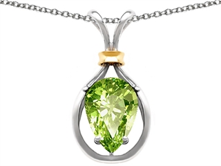 925 Sterling Silver and 18k Gold Two Tone Genuine Pear Shape Peridot Pendant peridot pendant