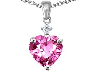 Original Star K(tm) Heart Shaped Simulated Pink Tourmaline Pendant