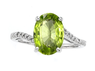 14k Gold Genuine Oval Peridot and Diamond Ring peridot diamond ring