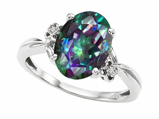 Tommaso Design(tm) Oval 10x8mm Mystic Rainbow Topaz and Diamond Ring