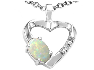 Tommaso Design(tm) Oval 6x4 mm Genuine Opal and Diamond Heart Pendant