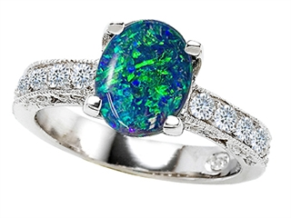 925 Sterling Silver 14K White Gold Plated Lab Created Oval Blue Opal Ring