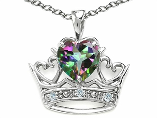 Tommaso Design(tm) Heart Shape 6mm Mystic Rainbow Topaz and Diamond Crown Pendant