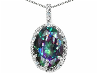 Tommaso Design(tm) Oval 10x8mm Rainbow Mystic Topaz and Diamond Pendant