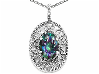Tommaso Design(tm) Oval 9x7mm Rainbow Mystic Topaz Filigree Pendant