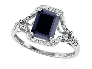 10k White Gold Genuine Emerald Cut Black Sapphire and Diamond Ring