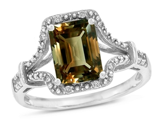 10k Gold Genuine Emerald Cut Smoky Quartz and Diamond Ring