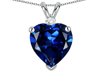 EZ 10 karat Gold Created Sapphire and Genuine Diamond Heart Pendant
