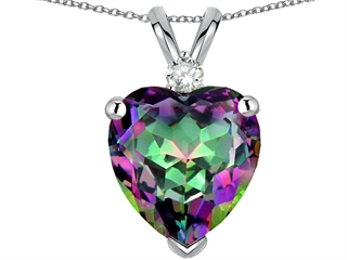 Tommaso Design(tm) 8mm Mystic Rainbow Topaz and Genuine Diamond Heart Pendant