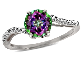 Tommaso Design(tm) 7mm Round Mystic Rainbow Topaz and Diamonds Bypass Ring